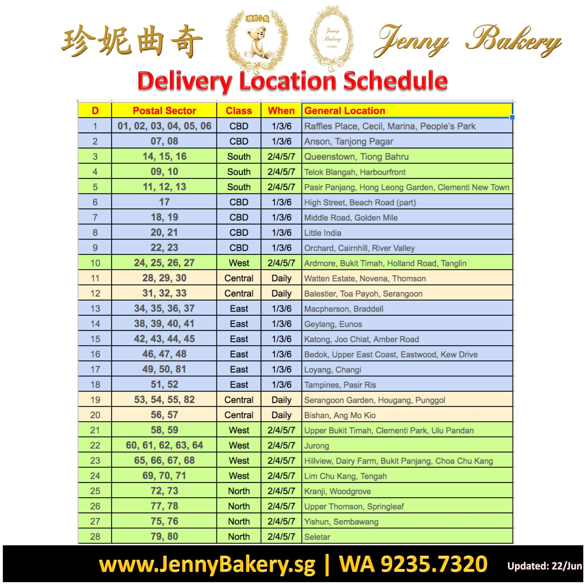 Jenny Bakery Delivery Schedule