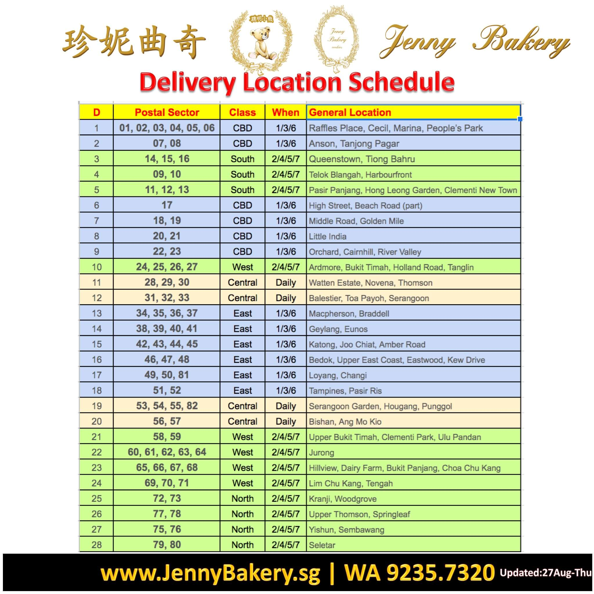 Jenny Bakery Own Delivery Services
